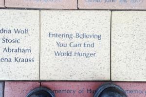 The tiles outside Heifer each bore words.