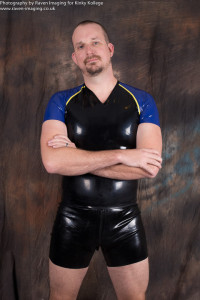 Rick Storer in rubber shorts and shirt
